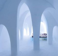 Art suite: The Flying Buttress Design: AnnaKatrin Kraus and Hans Aescht.  Photo: Asaf Kliger @asafkliger  AnnaKatrin Kraus and Hans Aescht have created the The Flying Buttress. The inspiration was found in the architectural shape of the arch which is also one of the most iconic features of ICEHOTEL.  We started from the existing shape and created multiple arches of ice and snow in different sizes and in different directions to capture the expanse of the suite. Its our aim for the visitor to…