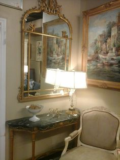 Gold and green console table w/Mirror. Beautiful for a sitting area or hall way! #NowandAgain #Consignments #Console