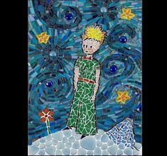 THE LITTLE PRINCE made of: glass mosaic, glass nougat, ceramic mosaic, phosphorescent mosaic; base: wood; size: 42*30 cm; price: 805 EUR / 641 GBP / 910 USD; © Gabor Abraham mosaic art