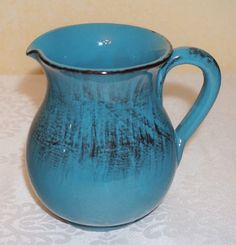 NWT ~ RUSTIC TERRACOTTA PITCHER ~ MADE in ITALY~ Blue w/ Black  16 oz / 1 pint