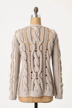 drop-stitch openwork cables cardigan - Antropologie strikes again!  Remember to bind off at the bottom where you want the drop-stitches to stop unraveling - and yo to replace them next row.  Must. Try.  Finally!