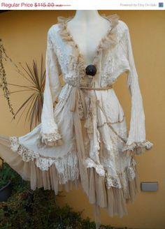 "20% XMAS SALE vintage inspired lagenlook cotton jacket....romantic ole world style.... Medium to 46"" bust.."