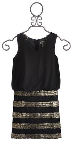 Elisa B Sleeveless Tween Dress with Striped Skirt $69.00