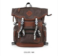 Japan and Korean Style Foldable Nylon Outdoor Traveling Backpacks in brown