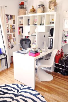 This amazing home office and dressing room!Ikea expedit desk in home office with zebra rug and panton chair Home Office Space, Home Office Design, Home Office Decor, House Design, Home Decor, Office Ideas, Ikea Office, Desk Space, Office Spaces