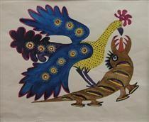 Peacock and crocodile, Maria Primachenko