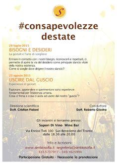 PRENOTA SUBITO ON LINE  https://consapevolezzedestate.eventbrite.it