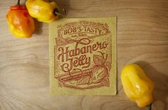 Hand lettered labels for Bob's Tasty Habaneros packaging. Designed by Nick Misani, each label is printed by hand with a rubber stamp.