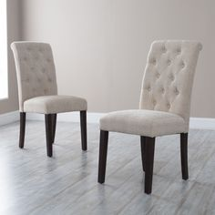 Morgana Beige Tufted Parsons Dining Chair - Set of 2 - Dining Chairs at Hayneedle