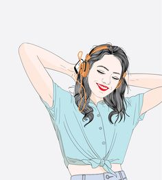 Women are listening to her favorite songs vector image on VectorStock Cartoon Girl Images, Cartoon Girl Drawing, Girl Cartoon, Cartoon Art, Sweet Drawings, Cute Love Images, Digital Art Girl, Illustration Sketches, Art Sketchbook