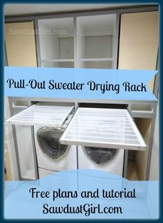 DIY pull-out sweater drying rack - free and easy plans from https://sawdustgirl.com.