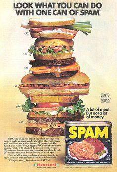 Look. Look harder. At the Spam. Tower of Spammy goodness, but spam and rice is delicious. Spam Recipes, Retro Recipes, Vintage Recipes, Vintage Advertisements, Vintage Ads, Vintage Prints, Retro Ads, Vintage Food, Retro Food