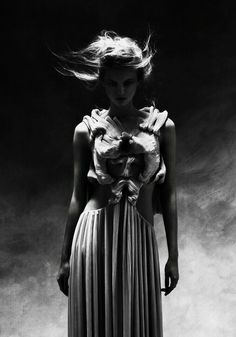 Wearable Art - intricately pleated dress with sculpted fabric face detail; creative fashion // Yiqing Yin