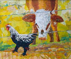 Cow and chicken collage – Cow Art and More