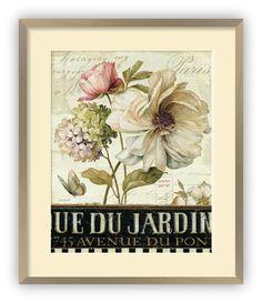 """Tablou """"Marche de Fleurs II"""", dimenisune 40 pe 50 de centimetri, cu ramă Genova, culoare Champagne, și paspartu Crem de 6 centimetri."""