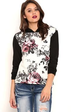 Deb Shops Long Sleeve Quilted French Tery Raglan Hoodie with Floral Print $19.95