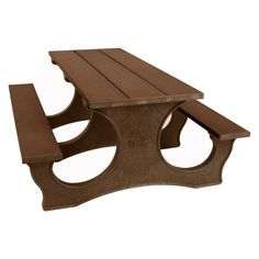 Outdoor Polly Products Tuff Easy Access Recycled Plastic Picnic Table Black Frame Brown Top - PTEA6-FRAMEBLACK-BROWN