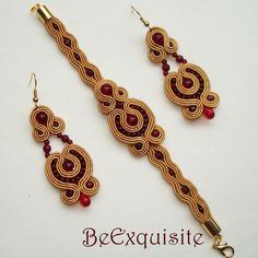 Beautifull gold soutache set with red jades.