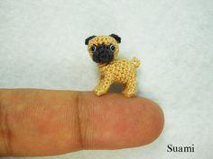 Micro Miniature Fawn Pug Dog - Teeny Tiny Dollhouse Miniature Pet - Thread Crochet Animals - Made To Order. $55.00, via Etsy.