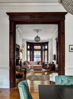 victorian home with a bohemian decor. Leave wood trims but paint baseboards – th… victorian home with a bohemian decor. Leave wood trims but paint. Home Design, Interior Design, Interior Doors, Design Ideas, Interior Trim, Design Shop, Interior Paint, Design Design, Dark Wood Trim
