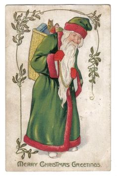 Santa Claus in Green Robe Carrying Pack Basket of Toys~Tuck & Son~Christmas~1907 #Christmas