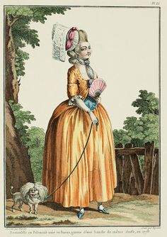 """A Most Beguiling Accomplishment: Galerie des Modes, 12e Cahier, 5e Figure (1778). Caption & long description translated by @Cassidy. """"Young lady in a solid Polonaise of Buras, trimmed with a band of the same stuff... Jean-Jacques Rousseau, citizen of Geneva, after having strongly declaimed against the swaddling of infants and the manner of dressing them, at last had the satisfaction to make converts: children were raised and dressed following the method he had indicated; but the…"""