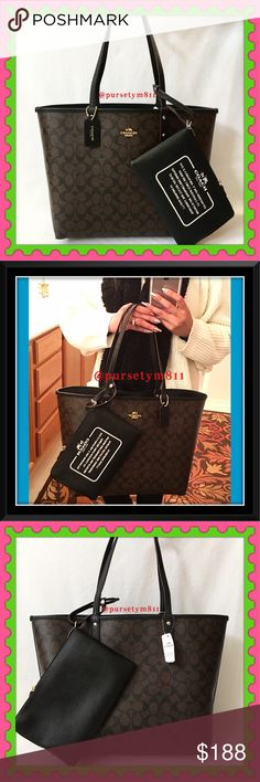 """Authentic Coach Signature Large Tote 100% AUTHENTIC! Beautiful & classic logo reversible handbag from Coach! Lightweight & very spacious. Approximate measurements: Length 17"""" Height 12"""" Width 6"""" Colòrs: Black & Brown. Large pouch included 💕 New w/ tag! No trade ❌ PRICE FIRM Coach Bags"""