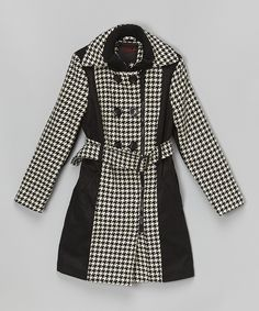 Another great find on #zulily! Black & White Houndstooth Trench Coat - Girls by Yoki #zulilyfinds