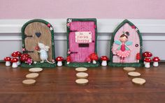 Forest fairy doors ready to welcome the fairies into your home.