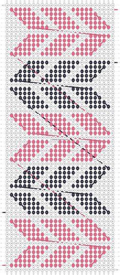 Alpha friendship bracelet pattern added by CWillard. zig zag diagonal lines parallelograms. Embroidery Shop, Learn Embroidery, Embroidery Patterns, Loom Beading, Beading Patterns, Crochet Patterns, Alpha Patterns, Craft Patterns, Friendship Bracelet Patterns