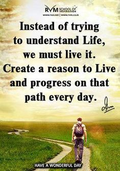Instead of trying to understand Life, we must live it. Create a reason to Live and progress on that path every day.