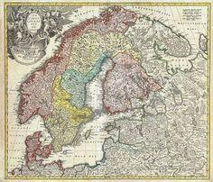 1730 Homann Map of Scandinavia, Norway, Sweden, Denmark, Finland and the Baltics Trondheim, Stavanger, History Of Sweden, History Of Finland, European History, Old World Maps, Old Maps, Vintage World Maps, Antique Maps