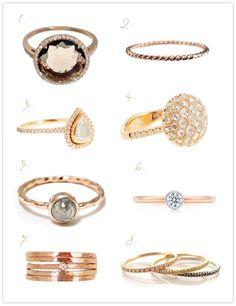 ROSE GOLD RINGS – 1. Suzanne Kalan rose gold smokey quartz diamond ring – $2,650  2. Gabriela Artigas 14K rose gold rope band – $140  3. Barney's New York Zoe ring – $5,400  4. Barney's New York Marroni ring – $4,895  5. Katrina LaPenne Old World Ring – $900  6. Tiffany Bezet Round – $1,350  7. Zoe Chicco hammered stack ring set – $308  8. Zoe Chicco tiny pave diamond ring - $616