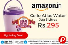Amazon #LightningDeal is offering 37% off on Cello Atlas Water Jug 5 Litres just at Rs.295. Wide mouth for cleaning, BPA free Food grade material, Durable and break resistant, Leak resistant, Spill free storage, Portable, Easy Grip to handle. Combat the hot Indian summer during your next outing with family and friends by taking along the supreme expedient Cello water jugs with you.   http://www.paisebachaoindia.com/cello-atlas-water-jug-5-litres-just-at-rs-295-amazon/
