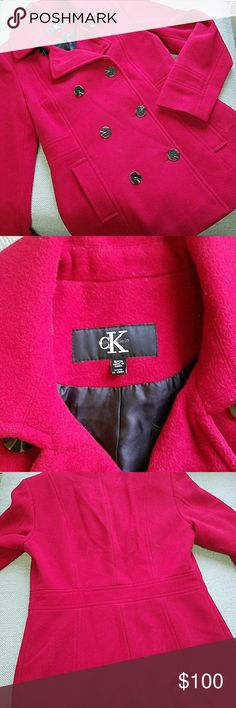 Calvin Klein Red Pea Coat Calvin Klein Red Pea Coat size small, falls at mid-thigh, wool blend, dry clean only, comes with spare buttons, gently used in excellent condition. Please message me if you have any questions! Calvin Klein Jackets & Coats Pea Coats