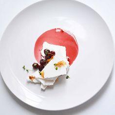 """Vacherin Mont Blanc. Meringue shards, chestnut cream, cherries poached in spiced wine, & crispy duck skin glazed with passion fruit. by Johana Langi (langijo) on IG #plating #gastronomy"