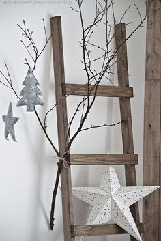 simple christmas decor use 2 burlap covered stars