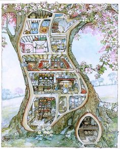 Brambly Hedge: I loved drawing these sectional houses as a kid!