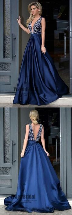 Deep V-Neck Royal Blue V-Back Rhinestone A-Line Long Satin Prom Dress, Charming Prom Dresses, VB0388 #promdress