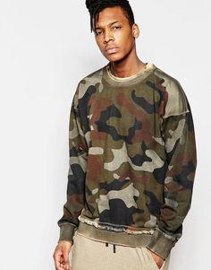 Other UK | Other UK Stonewashed Camo Sweatshirt With Drop Shoulders at ASOS