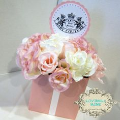 Juicy Couture Inspired Baby Shower Centerpiece - Baby Couture - White & Pink via Etsy