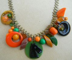 Outstanding bakelite book chain charm necklace