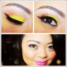 The colors used for this look are  a bright yellow (MAC Chrome Yellow) and a pop of blue drop shadow (MAC Freshwater with Eye Kandy Glitter Sour Apple)  Highlight (MAC Mylar Eye Shadow)  Crease (MAC Soft Brown Eye Shadow) Bright pink lips (MAC Candy Yum Yum) to pair with this colorful look