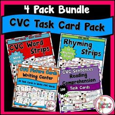Task Cards using CVC Words. Reading words, Rhyming Words, Writing Words, Comprehending Sentences all bundled into one. Perfect for beginning readers! $
