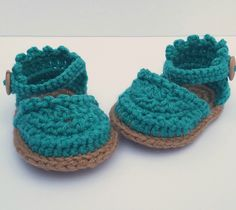 Baby Espadrille Sandals in Aqua by OToolesDaughters on Etsy