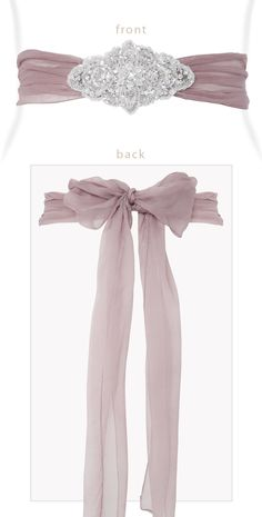 Silk Crystal Sash Dark Mauve by Tiffany Rose