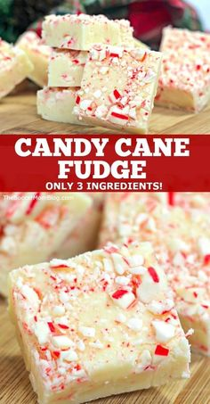 This festive candy cane fudge is a smooth and creamy white chocolate peppermint fudge recipe with a layer of crunchy candy canes on top! It only 3 ingredients! This is the perfect holiday dessert reci New Year's Desserts, Christmas Desserts, Christmas Recipes, Party Desserts, Healthy Desserts, Christmas Parties, Christmas Treats, Christmas Fudge, Christmas Baking