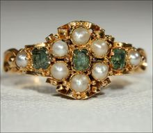 Antique Mid-Victorian Pearl and Emerald Ring, 18k Gold c. 1860