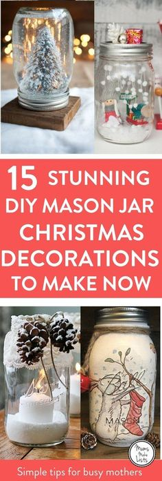 15 DIY Mason Jar Christmas Decorations - We've done a roundup of some lovely Christmas home decor ideas and how to make guides for the holidays. #MasonJarDecor #MasonJar #MasonJarCrafts #ChristmasDecor #ChristmasDecorations #ChristmasDecorDIY #Christmas2017 #Christmas #ChristmasDIY