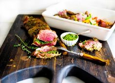 Herb Crusted & Stuffed Leg of Lamb with Mint Gremolata